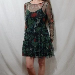 House sheer net with 2 tiered print mini dress